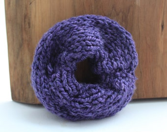 Jumbo Knit Scrunchie - Handmade | Recycled Yarn | Purple | Boho | Hippie