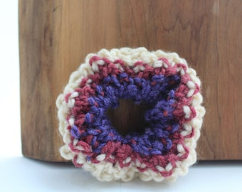Tri-Coloured Knit Scrunchie - Cozy, Upcycled, Sustainable, Textured, Cream, Purple, Pink