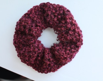 Jumbo Two-Tone Knit Scrunchie - Cozy, Upcycled, Sustainable, Textured, Burgundy, Gray
