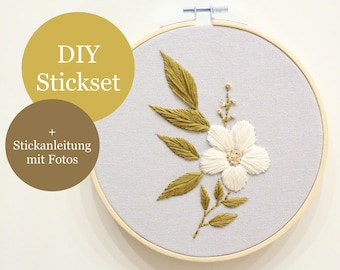 """DIY """"botanical"""" embroidery set with embroidery instructions (beginners)"""