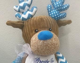 Reindeer-Personalized handmade embroidered Sensory baby gift with birth stats or you can customize