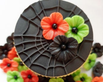 Edible Sugar Flowers in Black, Orange and Green with a Black Pearl