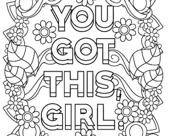 100 Page Adult Motivational Coloring Book - Printable