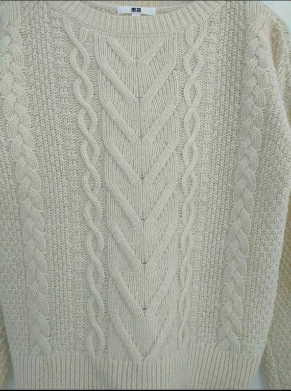 Uniqlo cable aran isle knit vintage cable knitwea… - image 4