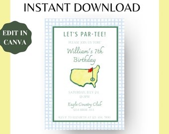 Editable Masters Party Birthday Invitation Template   Digital Download   Augusta, Golf, Gingham