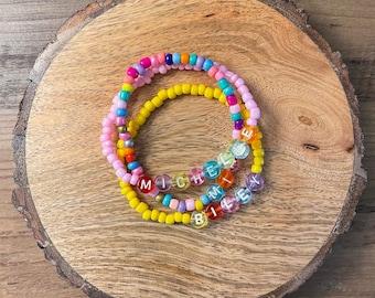 Custom Bead Bracelet, Name Bracelet, Kids Name Bracelet, Stretchy Bracelet, Kids Stretchy Necklace, Girls Bracelet