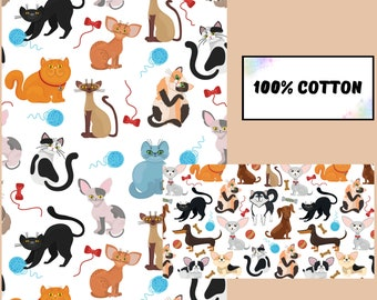 Cat fabric by the yard, Organic cotton fabric fat quarters, Quilting fabric, Cat blanket fabric