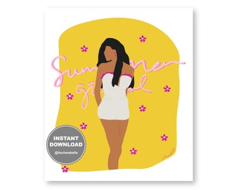 INSTANT DOWNLOAD | Summer Vibes Girl Swimsuit | Yellow Pink Holiday Mood | Digital Woman Illustration | Beach Aesthetic