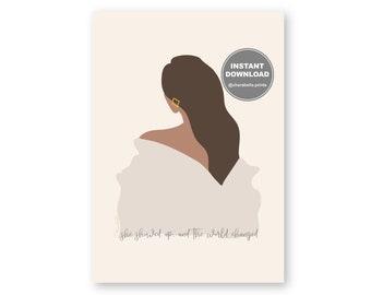 INSTANT DOWNLOAD | High Fashion Style Print | Ball Gown Digital Illustration Art | Girl Back Long Hair | Gold Earrings | World Changer