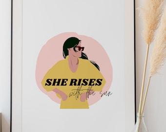 INSTANT DOWNLOAD | Strong Woman Powerful Digital Illustration | Vintage 70s Fashion | Empowerment Girls | Rising Sun | Yellow Dress Fashion