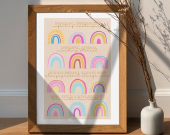 INSTANT DOWNLOAD | Colorful Rainbow Nursery Art | Whimsical Kids Room Wall Hanging | Love Home Interior Decor | Digital Illustration