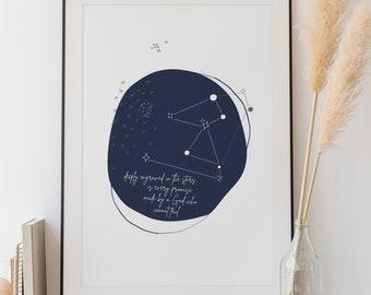 INSTANT DOWNLOAD Digital Abstract Motivational Art Faith Inspired Constellation Stars Night Nursery Wall Art