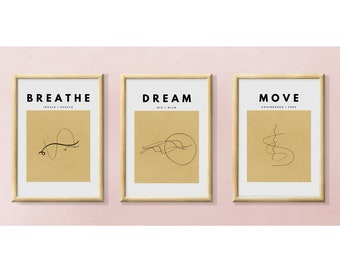 INSTANT DOWNLOAD | Neutral Beige Earthy Bohemian Art | Set of 3 Earth Tones Abstract Line Art Wall Decor | Inspirational Modern Home