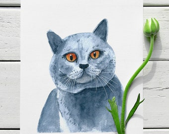 British Shorthair. Custom Watercolor Cat Portrait By Photo.