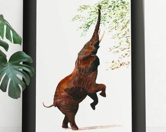 Custom Watercolor Animal Portrait By Photo. Elephant