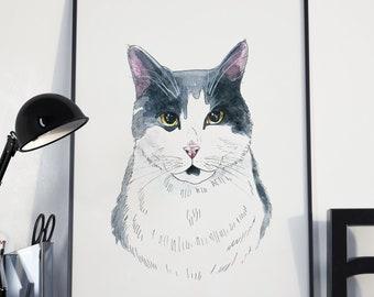 Custom Watercolor Cat Portrait By Photo