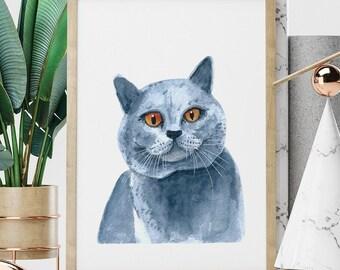 Custom Watercolor Pet Portrait By Photo