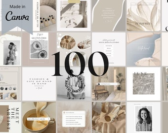 100 Instagram Templates, Canva Template, Instagram Post Template, Blogger Template, Nude, Social Media Booster, Neutral Beauty, Light Brand