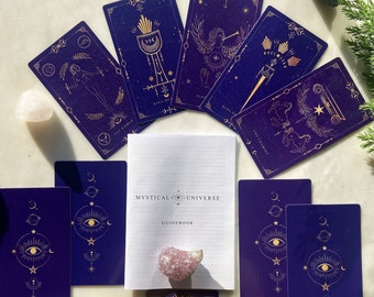 Tarot Deck with Guidebook and Bag, Mystical Universe, Tarot Deck 78 Cards, MIDNIGHT BLUE GOLD, Two Tones, Tarot Deck for Beginners