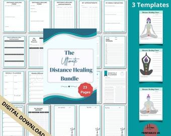 DISTANCE HEALING PLANNER bundle, printable templates and organizer, distance reiki, energy healing, distant healing, reiki tools, proxy