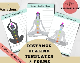 DISTANCE HEALING PRACTICE printable templates, distance reiki, energy healing, distant healing, reiki tools, chakra healing, proxy