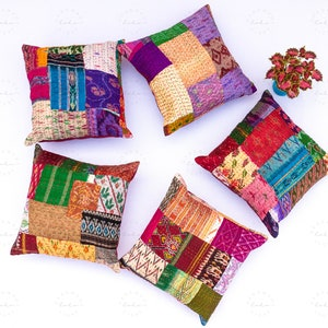 Decorative Throw Pillow Indian Patchwork Cushion Cover Set of 5 Pillow Vintage Embroidered Patchwork Pillow Cover Sari Cushion Cover