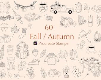 60 Autumn / Fall Procreate Stamps | Fall Procreate Stamps | Autumn Procreate Stamps | Procreate Brushes |Procreate Pumpkin |Procreate stamps