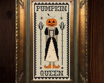 Pumpkin Queen - Modern Cross Stitch Pattern - Halloween Cross Stitch - Gothic Cross Stitch Chart - Instant Download PDF