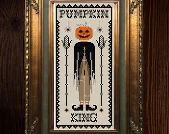 Pumpkin King Sampler - Cross Stitch Pattern - Gothic, Magic, Pumpkins, Witch, Occult, Primitive, Spooky - PDF DOWNLOAD