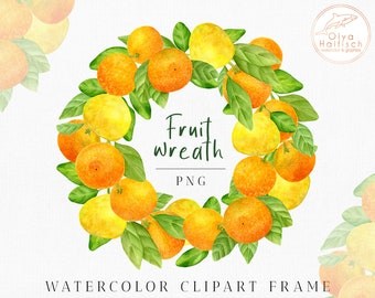 Watercolor Fruit Wreath Clipart, Citrus Frame PNG, Fruit invitation clipart with lemons, tangerines and leaves. Digital download