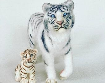 tiger king,stuffed white tiger, white tiger cub,stuffed tiger cub,felted white  tiger, realistic tiger cub, white tiger
