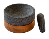 Pestle and Mortar Machuastik Elegant quot Molcajete quot made of Volcanic Rock with Guanacaste wood base and its Mortar