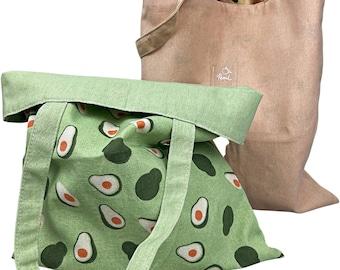 Grocery Shopping Tote Bag Double Sided   Reusable Canvas Bag   Zero Waste   Tote Bag   Reusable Fruit Bag   Organic Linen   Flower Bag