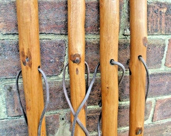 Large Hiking Walking Stick Cane Solid Thick Chestnut Wood Farmer Country Walking Sticks 46 Inches