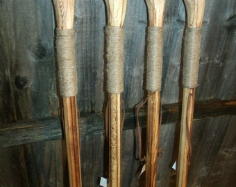 """Flamed Knob Wood Walking Sticks For Hiking Farmers Dog Walkers Rustic Style 49"""""""