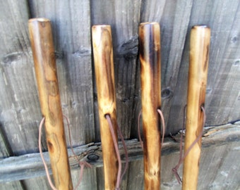 Rustic Hiking Walking Stick Made by Hand From Solid Flamed Chestnut Wood Thick and Sturdy Ideal for Dog walkers or Countryside 46-48 Inches