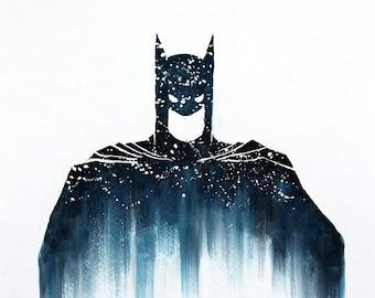 Batman Dark Knight Watercolor Print, Superhero, Movie Poster, DC Comics, Wall Art, Kids Room Decor