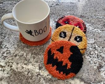 Handmade Yarn Coasters | Horror Inspired | Sam Trick R Treat | 4 Piece Set