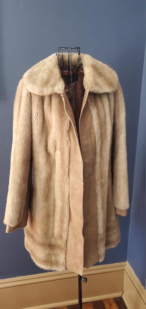 Faux Fur and Tan Suede Vivian Coat by Lilli Ann