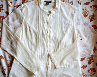 Vintage Prairie Blouse - Cottagecore Aesthetic Button Up Sheer Off-white Top - 90s Alfani Long Sleeve Cream Lace 1800s Prairie Style Y2K