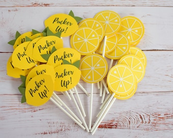 She Found Her Main Squeeze Cupcake Toppers| Handmade Bridal Shower Decorations | Lemon Theme | Bridal Shower Cupcake Toppers