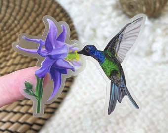 "Hummingbird Clear Border Sticker   3"" x 2.4""   Vinyl   Flying Bird and Columbine Flower   Die Cut Decal   Weatherproof   Gouache   Floral"