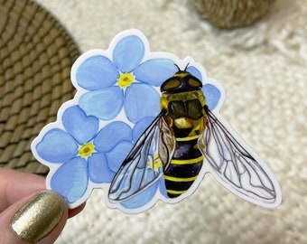 """Southern Bee White Border Sticker   3"""" x 3""""   Vinyl   Bumblebee and Forget-Me-Not Flowers   Die Cut Decal   Weatherproof   Gouache   Floral"""