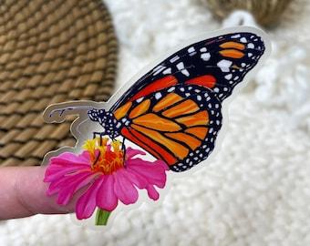 "Pink Monarch Clear Border Sticker   2.5"" x 2.5""   Vinyl   Butterfly and Magenta Flower   Die Cut Decal   Weatherproof   Gouache   Floral"