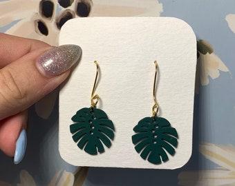 Forest Green Palm Leaf Dangle Earrings