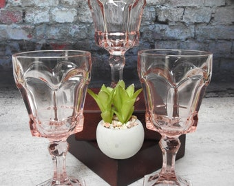 Peach Base 2 Water  Goblets Etched Crystal Wedding gift Vintage Crystal Peach Goblets Tiara Silhouettes