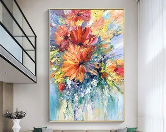 Original flowers painting on canvas landscape wall art heavy textured painting Rainbow flower oil painting palette knife painting