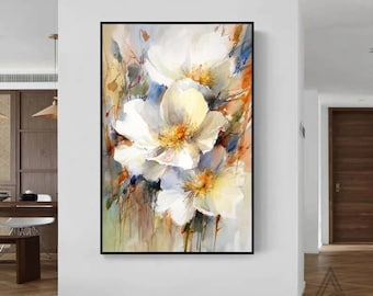 Oversize landscape wall art Original flower painting on canvas heavy textured painting Modern wall art decorative oil painting Sofa wall art