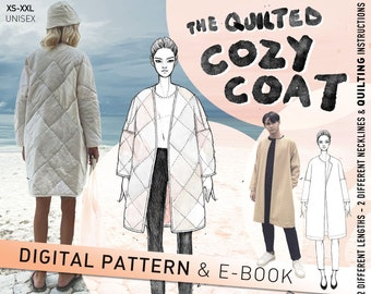 COZY COAT - oversized quilted coat - minimalist winter coat/jacket  - indie sewing pattern PDF with many options and illustrated tutorial