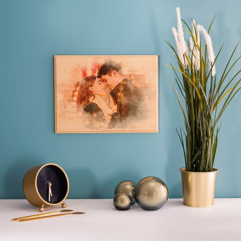 Custom Photo on Wood Engraved Photo on Wood with Watercolor image 4